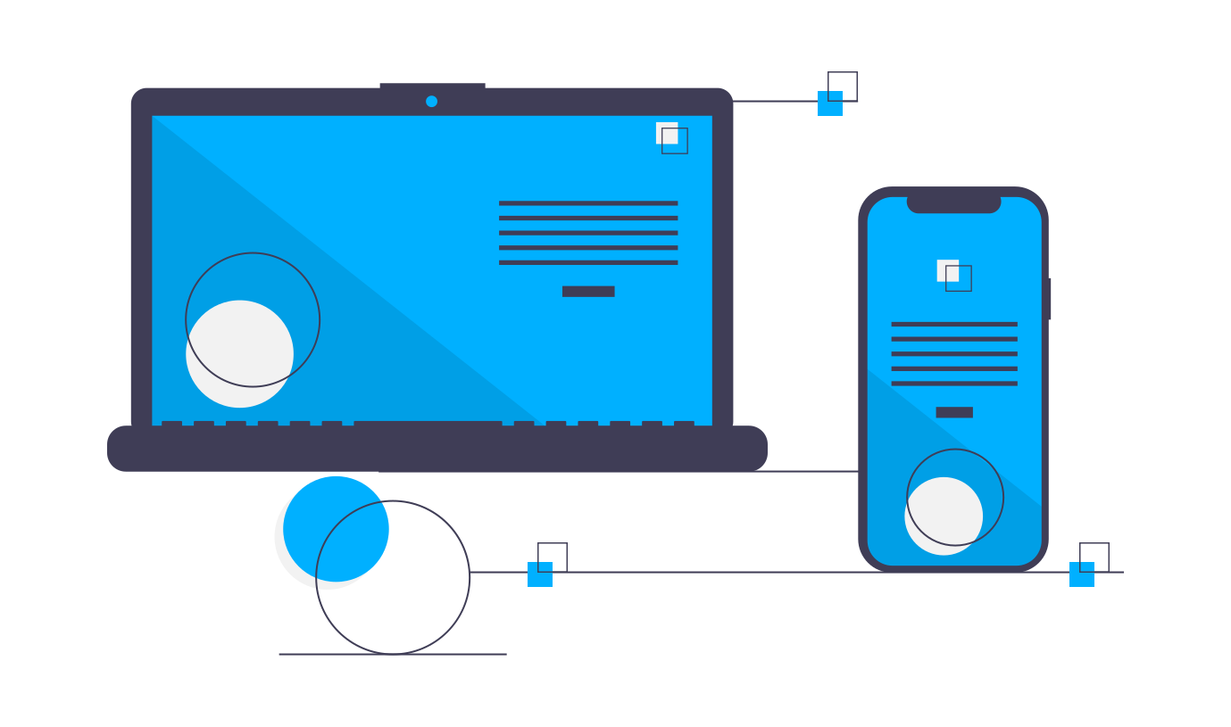 Custom CRM development illustraction with UI mobile